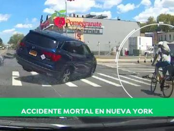 Duras imágenes: Muere un ciclista español arrollado en un cruce de Nueva York