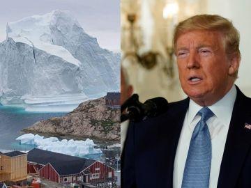 Paisaje groenlandés y el presidente Donald Trump