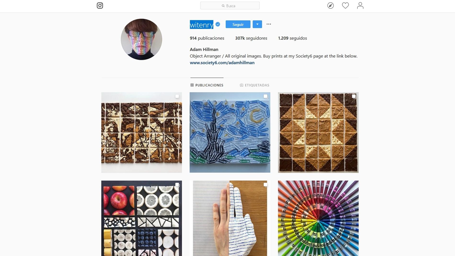 La pagina de Instagram Witenry