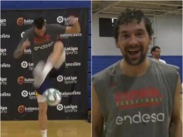 La selección española de baloncesto se divierte jugando al fútbol