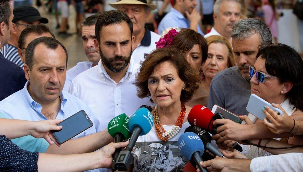 La vicepresidenta del Gobierno en funciones y secretaria de Igualdad del PSOE, Carmen Calvo