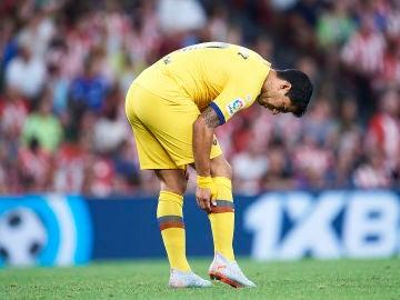 Luis Suárez con molestias en la pierna derecha