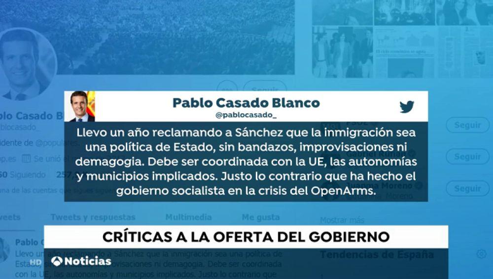 Casado, Colau y Moreno Bonilla critican la actuación del gobierno con el Open Arms