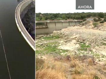 Un pantano antes y después de la sequía
