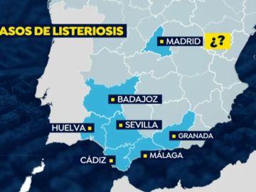Mapa de afectados por listeriosis