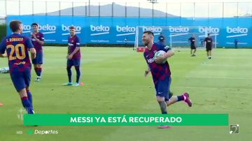 Messi vuelve a entrenarse con sus compañeros y podría jugar contra el Betis