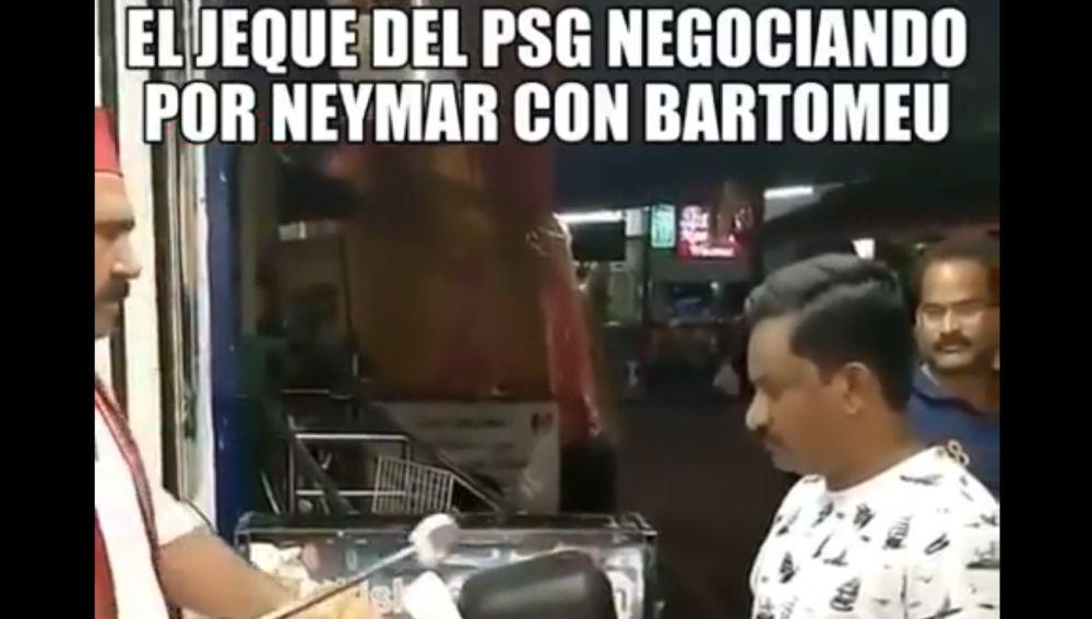 Meme sobre la negociación de Neymar con Bartomeu