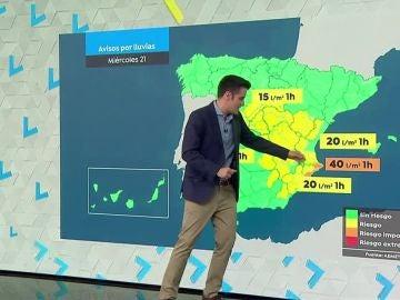 Las precipitaciones descargarán con fuerza especialmente en el centro del país