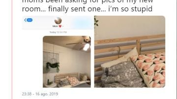 Una mujer le envía fotos de su habitación a su madre