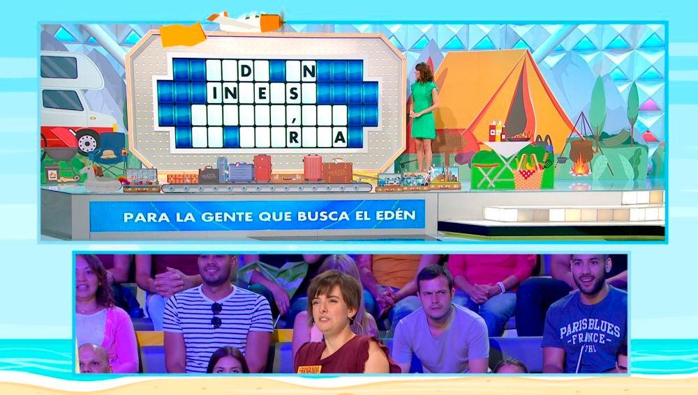 Una concursante responde un panel de 'La ruleta de la suerte' en tiempo récord