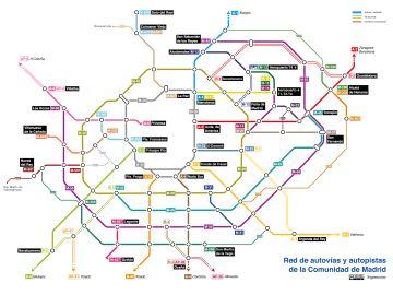 Mapa de las carreteras de Madrid como el plano de metro diseñado por Fenando de Córdoba