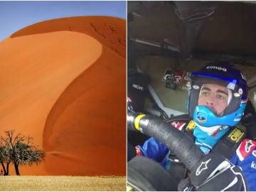Fernado Alonso, en la duna 7 de Namibia