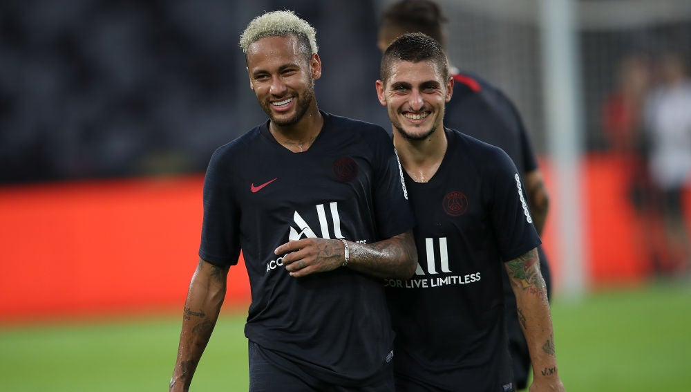 Neymar y Verratti en un entrenamiento