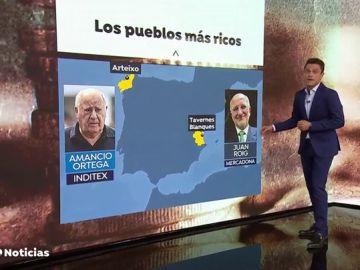 Las fortunas de Amancio Ortega y Juan Roig llevan a sus pueblos a liderar el ránking de facturación