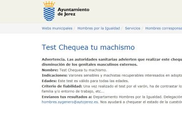 Test Chequea tu Machismo alojado en la web del Ayuntamiento de Jerez
