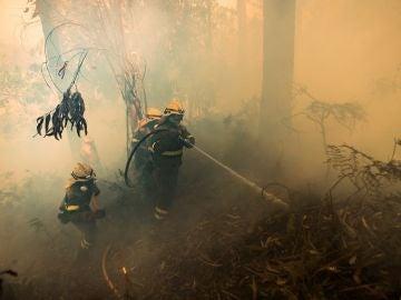 Un grupo de bomberos trabaja en las labores de extinción del incendio forestal declarado este jueves en la localidad coruñesa de Porto do Son