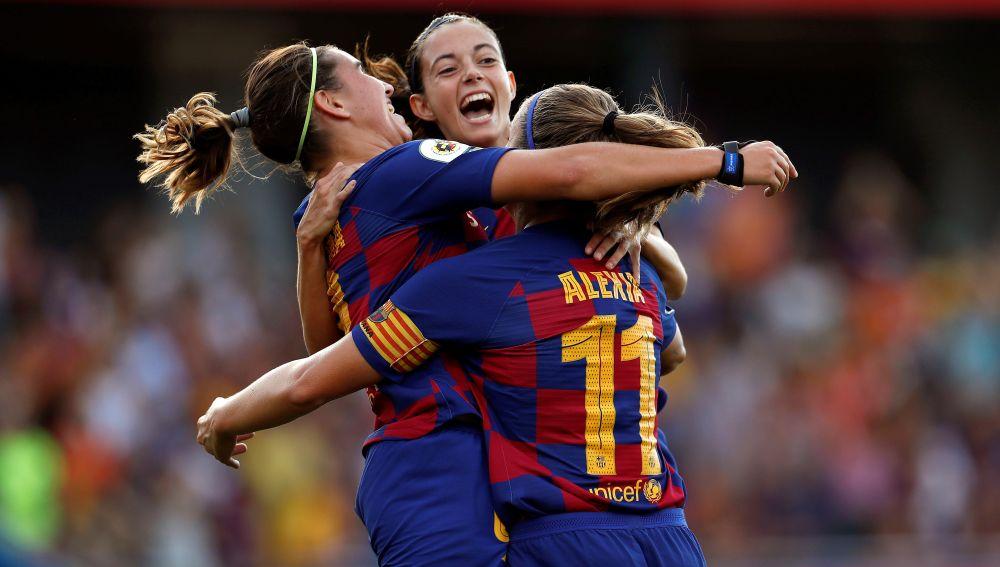 Las jugadoras del FC Barcelona, (i-d) Mariona Caldentey