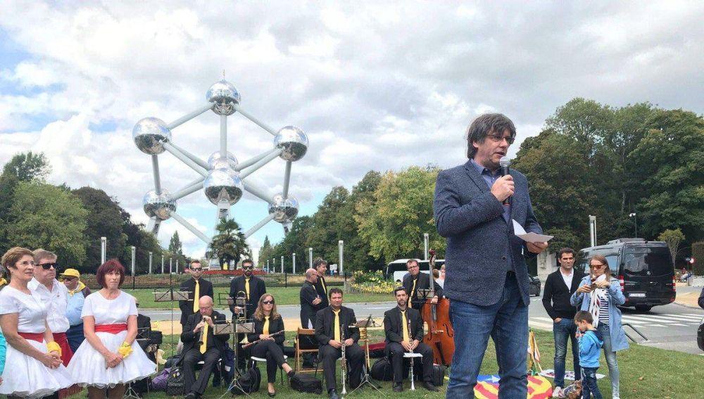 Carles Puigdemont en un acto en Bruselas