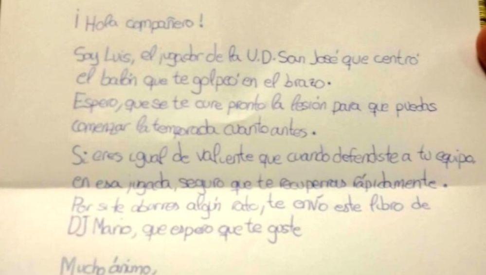 Carta del pequeño Luis a un rival