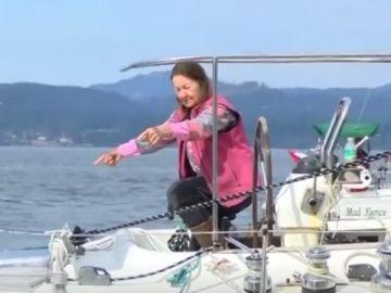 Jeanne Sócrates, en su velero Nereida