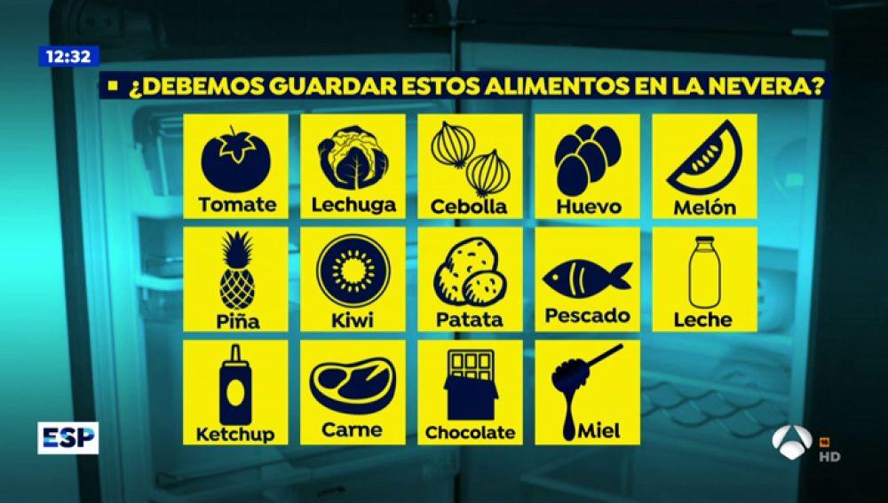 Alimentos que no deberas meter nunca en la nevera.
