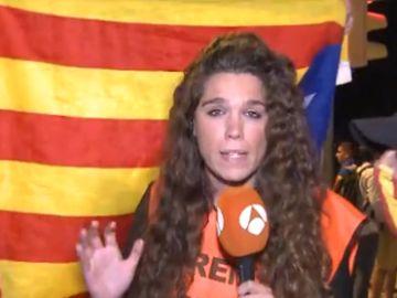 La periodista de Antena 3 Noticias durante la Diada