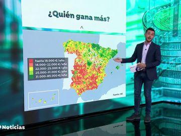 La diferencia de sueldos entre el norte y el sur de España puede superar los 60.000 euros