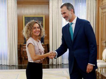 El Rey Felipe VI recibe este jueves a la presidenta del Congreso, Meritxell Batet, en el Palacio de la Zarzuela