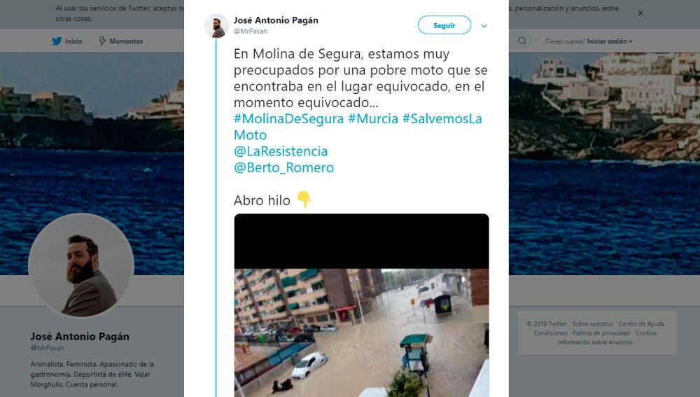 Captura del tuit principal del hilo de la moto de Molina de Segura