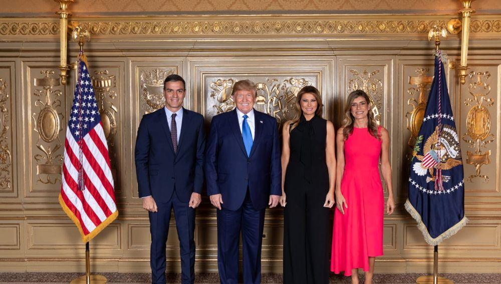 Donald Trump y Melania junto a Pedro Sánchez y su mujer