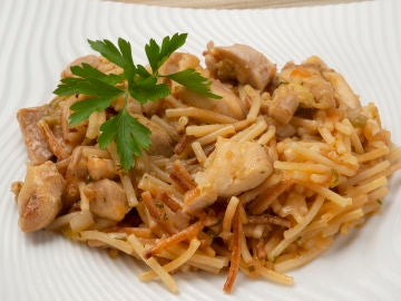 Receta de Fideos con verduras y pollo