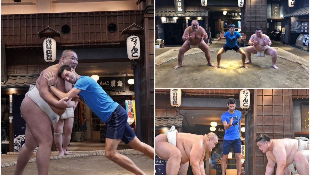 Djokovic se divierte practicando lucha de sumos