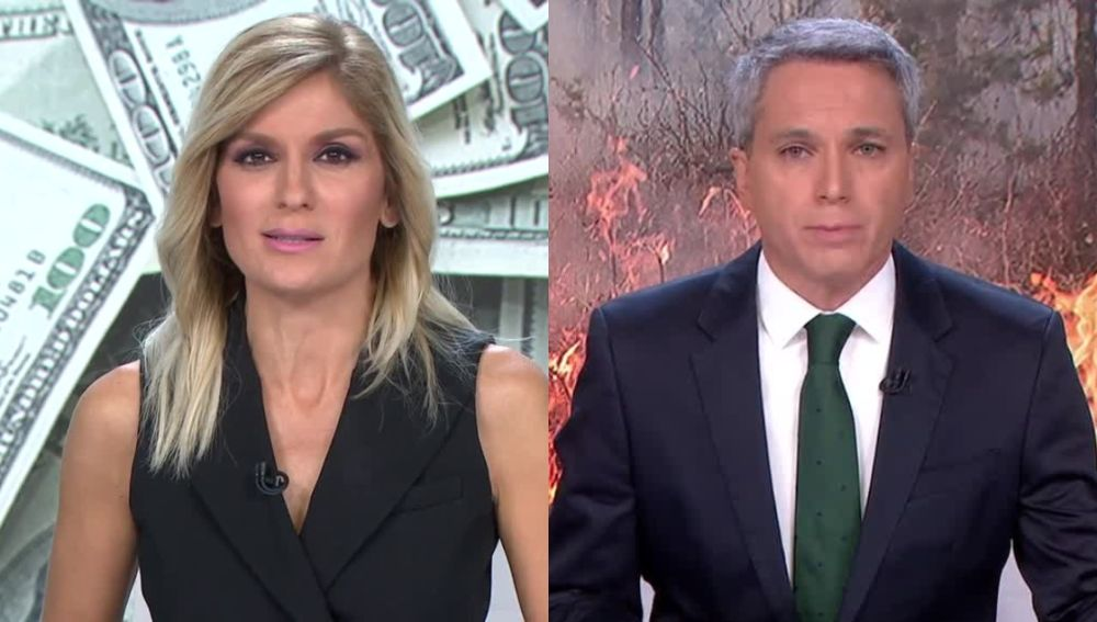 Los presentadores de las dos ediciones de Antena 3 Noticias