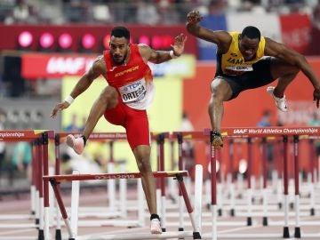 Orlando Ortega en la final de 110 metros vallas