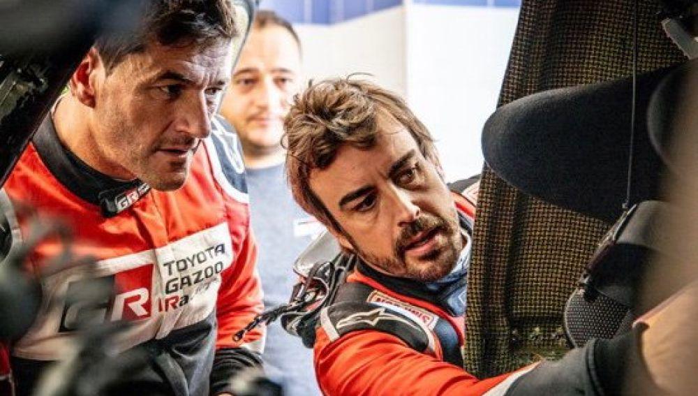 Fernando Alonso tras la primera etapa del rally de Marruecos