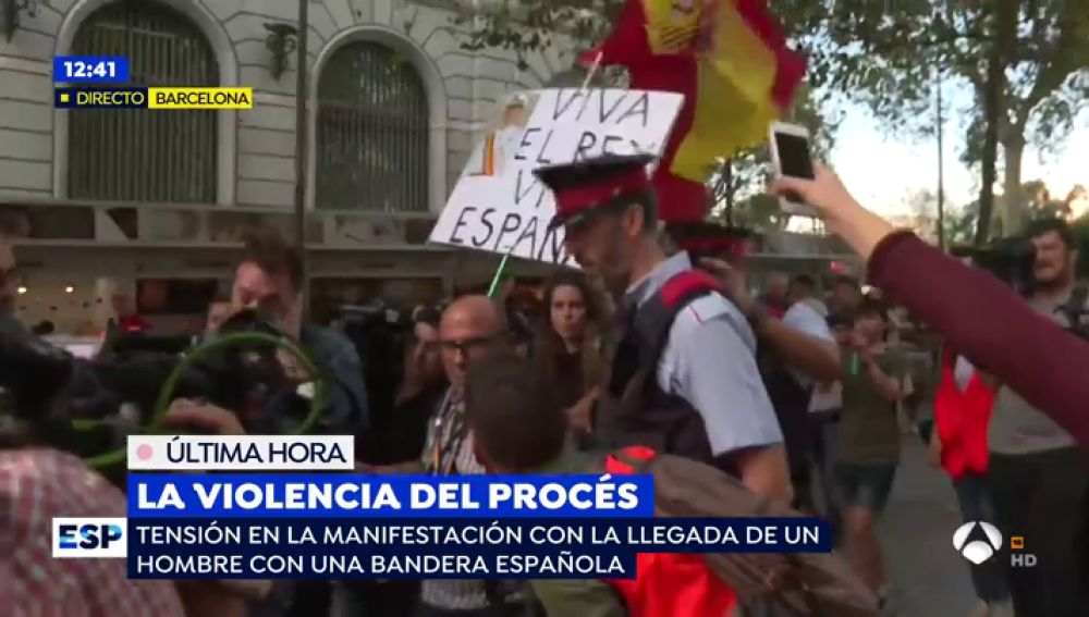 Manifestante en Barcelona.