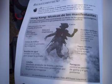 El manual de autodefensa que los manifestantes reparten en Cataluña
