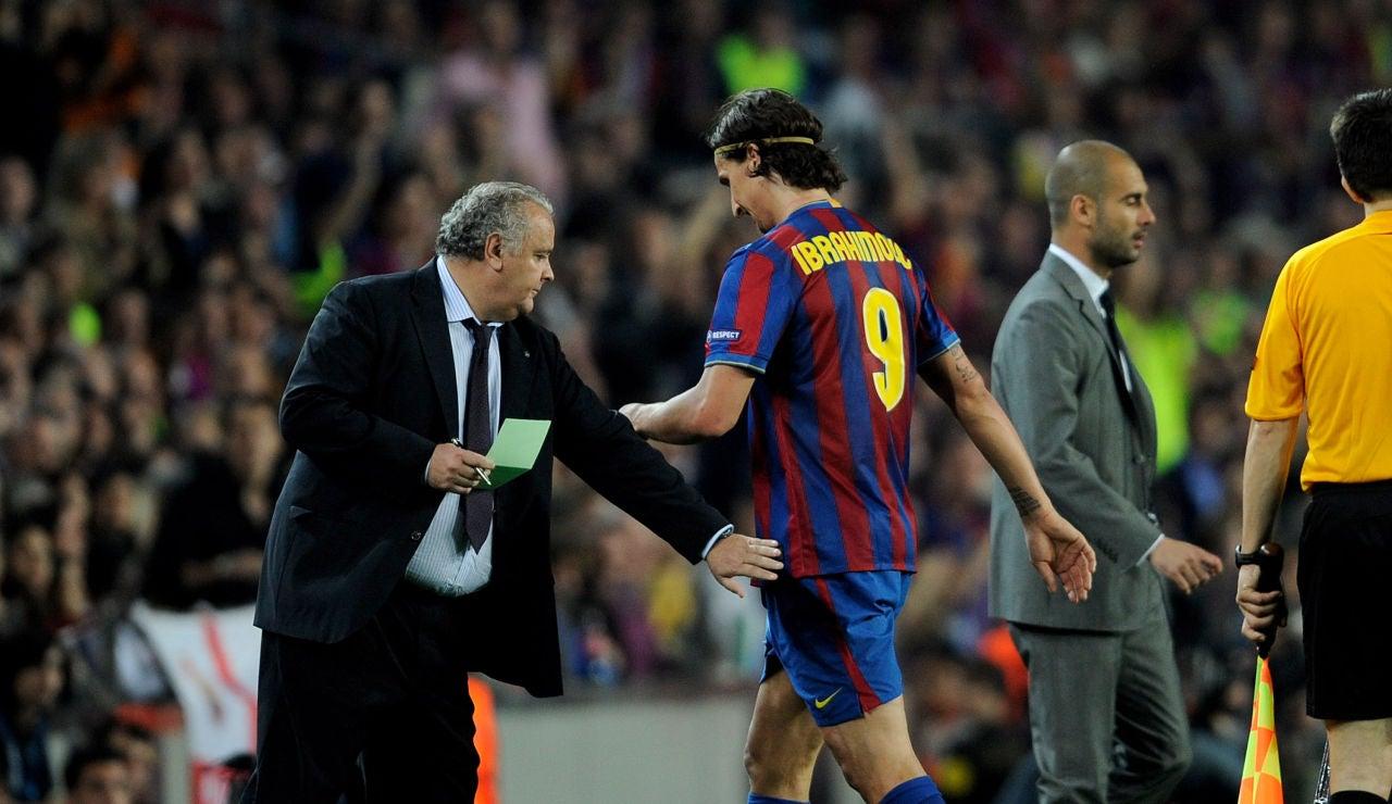 Ibrahimovic y Guardiola, durante su etapa en el Barcelona