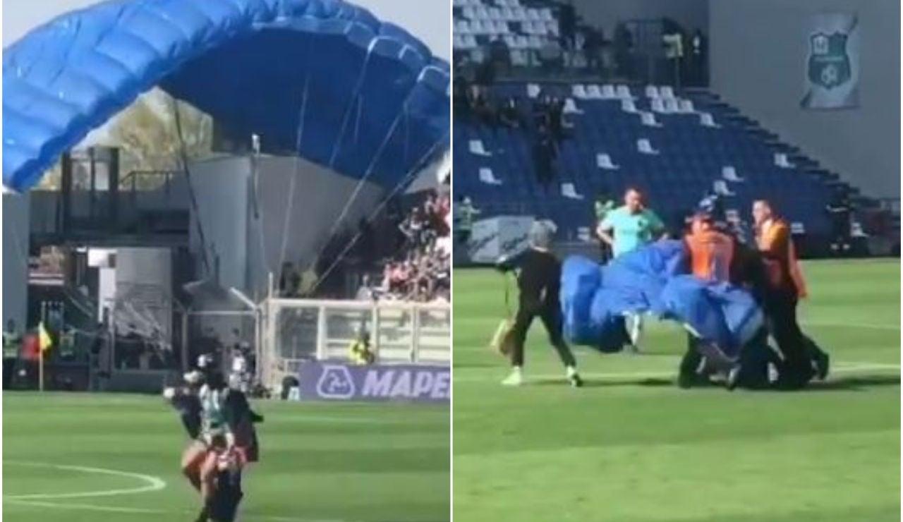 Un espontáneo aterriza en pleno partido del Inter de Milán