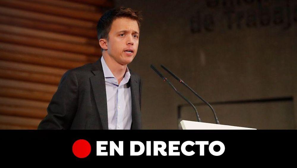 Sigue la entrevista a Íñigo Errejón hoy, en directo. Última hora de las elecciones generales 2019 y las últimas encuestas electorales del 10-N.