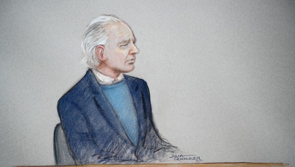 Imagen de Julian Assange ante la Justicia británica
