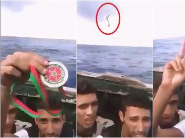 Anouar Boukharsa en la patera hacia Lanzarote