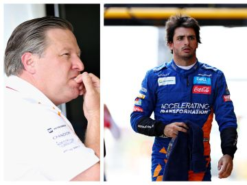 Zak Brown, responsable de McLaren y Carlos Sainz