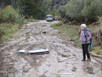 Una mujer observa los daños causado en la carretera de acceso a la población de Vilaverd