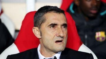 Ernesto Valverde, en el duelo ante el Slavia de Praga