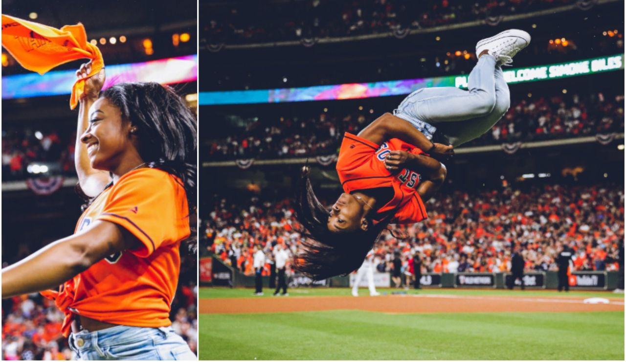 Simone Biles en el partido de béisbol de los Astros