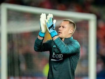 Ter Stegen durante el partido contra el Slavia de Praga