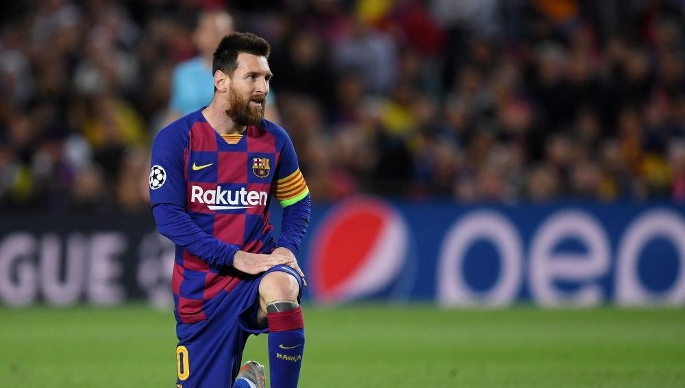 Leo Messi ante el Slavia de Praga