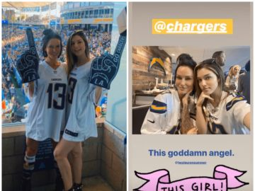 Lauren Summer y Kayla Lauren durante el partido de los Chargers