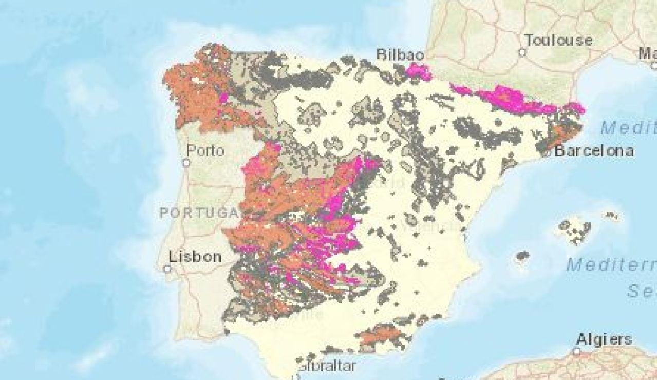 Mapa del gas radón en España